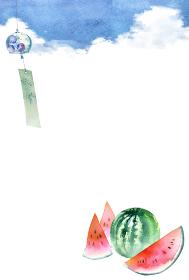 風鈴 スイカ 夏 背景 フレーム 暑中見舞い 水彩 イラスト