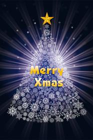 クリスマスのイメージのイラスト 聖夜に輝く雪の結晶で構成されたクリスマスツリー