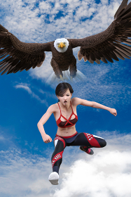 大空を羽ばたく鷲のイメージとシンクロするハードルをジャンプして飛び越える選手