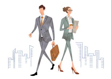 イラスト素材:ビジネスシーン、男性、女性