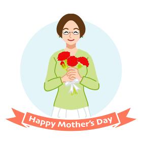 カーネーションを持って微笑む眼鏡の母親 - 母の日コンセプトイラスト