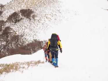 雪山を歩く登山者たち