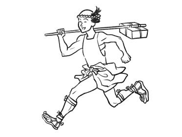 日本画タッチの飛脚の人物イラスト
