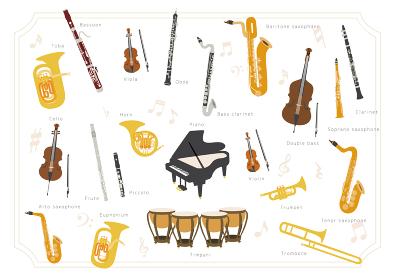 【楽器】オーケストラ、ブラスバンド 基本編成楽器のベクターイラスト