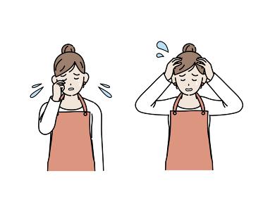 主婦 泣く 涙を流す 悲しい ストレス 鬱 女性 上半身 イラスト素材