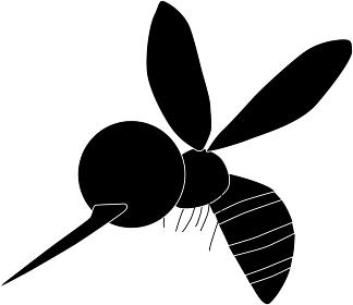 飛び回る蚊のシルエット素材