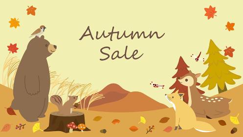 秋の動物たちの可愛いメッセージカード