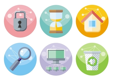 Set of colorful circle user interface icons for mobile and web applications isolated on white background