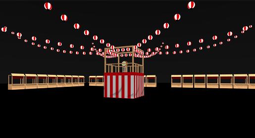 盆踊りの櫓と屋台の3dレンダリング