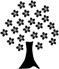 桜の木のシルエット素材