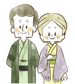 着物姿のシニア夫婦 水彩