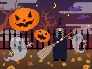 ハロウィンの夜(魔女、パンプキン、ゴースト)