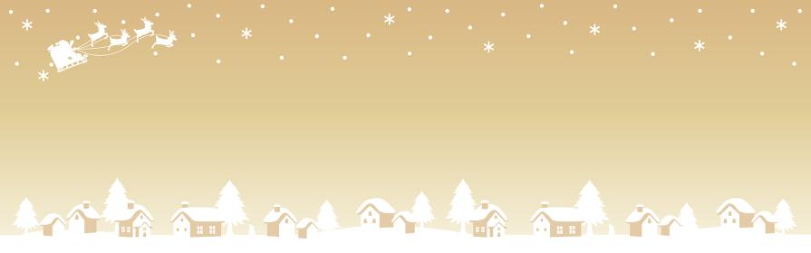 クリスマス サンタクロースとトナカイのソリ シルエット 背景 バナー