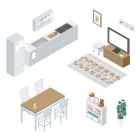 インテリア アイソメトリック イラスト キッチン リビング セット