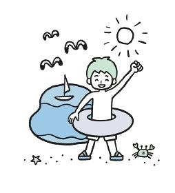 海水浴のイラスト