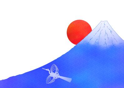 水彩風日の出富士に鶴のイラスト 1