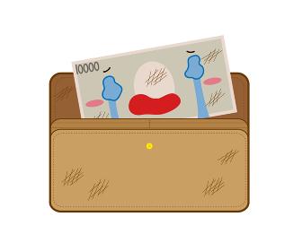 汚れたお財布で傷つき泣くお金のイラスト