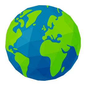 ポリゴンで表現した世界地図 / 地球 ベクターイラスト