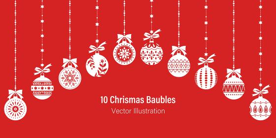 吊り下げされた10種類のクリスマスオーナメント、赤い背景に白いシルエット