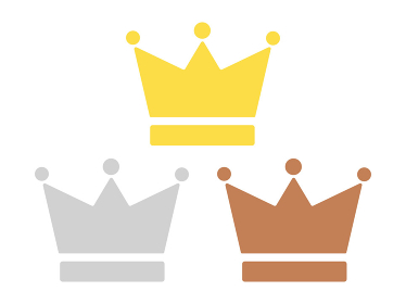 金銀銅の王冠のイラスト