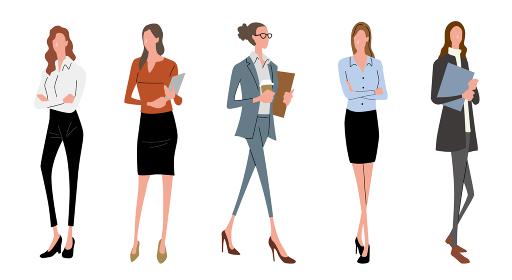 イラスト素材:ビジネスシーン、女性、ファッション