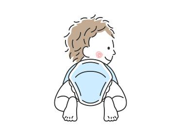 ハイハイする赤ちゃんの後ろ姿のイラスト