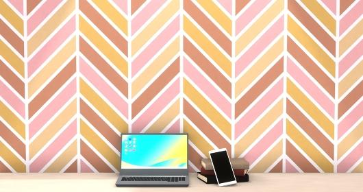 ヘリンボーン模様の部屋にノートパソコンとスマートフォンと本 3DCG