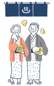 浴衣姿のシニアカップル