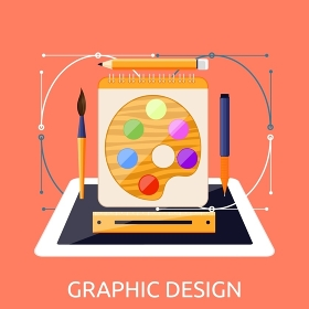 Graphic web design graphic tablet and tool. Tablet graphic, pen graphic tablet, equipment digital drawing, device pencil, monitor tablet design, workspace and paint screen graphic tablet illustration