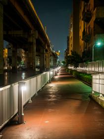 高速道路下 遊歩道 夜景