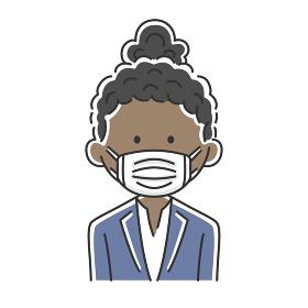マスクをした黒人ビジネスウーマンのイラスト