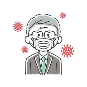 マスクをした年配ビジネスマンのイラスト