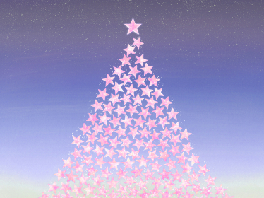 ピンクの星で作ったクリスマスツリー ロマンティックな夜景の背景