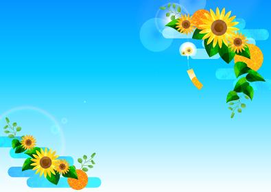 ル Japanese-sunflower-Frame-ひまわりと青空と風鈴のフレーム