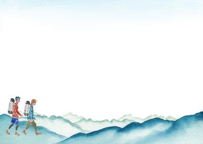 登山 ハイキング トレッキング 人物 背景 フレーム 水彩 イラスト