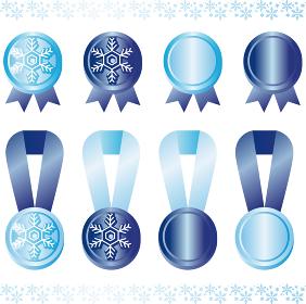 冬 雪 リボン リボンテープ フレーム コピースペース イラスト素材セット