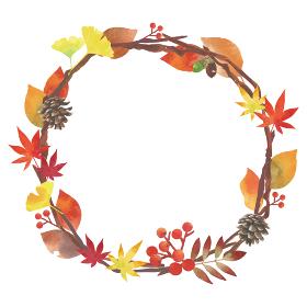 秋の葉、実など装飾ナチュラルフレーム 水彩 丸型