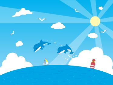イルカと海の背景イラスト