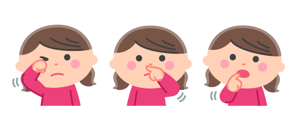 感染リスク/顔(目、鼻、口)を手で触る女の子/輪郭線なし
