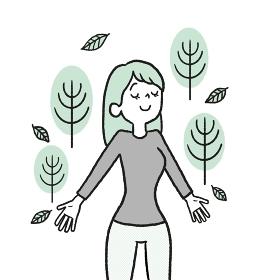 森林浴をする女性のイラスト