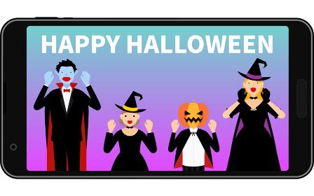 スマホでオンラインハロウィンパーティ、ドラキュラと魔女とジャックオランタン