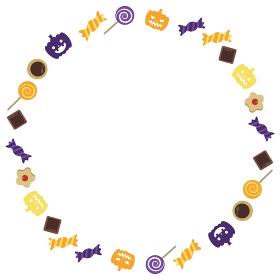 ハロウィンのお菓子をちりばめた円形フレーム