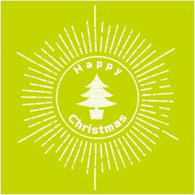 手描きタッチのハッピークリスマスのロゴマーク(1色白)|集中線と天使とクリスマスツリーのイラスト