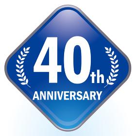光沢感立体感のあるアニバーサリーのスクエアアイコン 40周年ボタン Anniversary i