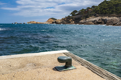 The seaside path and the beach of Sa Tuna in the village of Begur on t