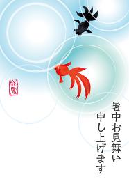 暑中見舞葉書デザイン広告バナー 水彩タッチの金魚と池のイラスト水面の波紋 夏のイメージ