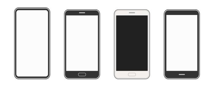 シンプルなスマートフォンのイラスト_セット