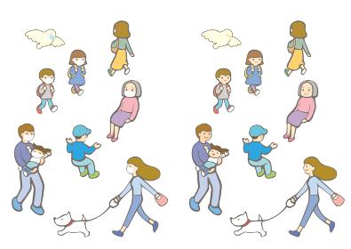 日常の人たち(マスク有・無)