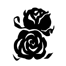 薔薇の白黒のシルエットのイラスト
