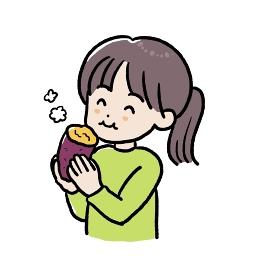焼き芋を食べる女の子のイラスト
